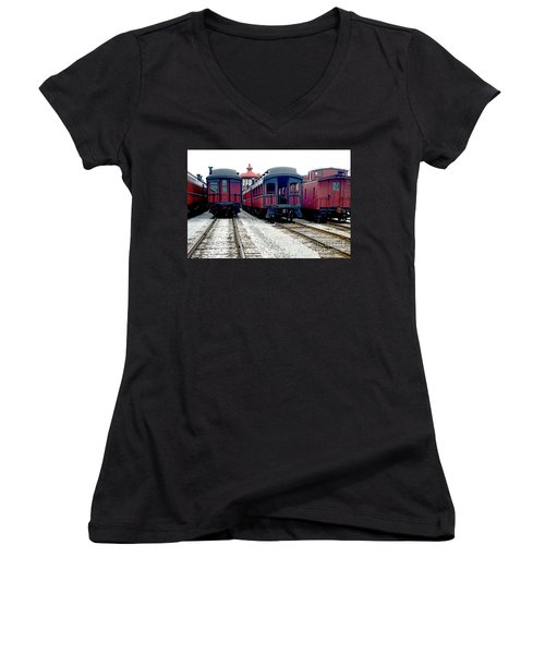 Women's V-Neck T-Shirt (Junior Cut) featuring the photograph Rail Stock by Paul W Faust - Impressions of Light