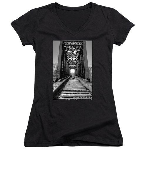 Railroad Bridge Black And White Women's V-Neck (Athletic Fit)