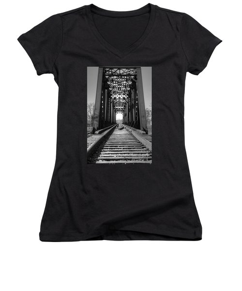 Railroad Bridge Black And White Women's V-Neck