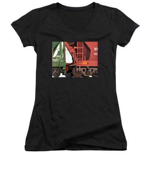 Railroad Cars - Realistic Train Oil Painting Women's V-Neck