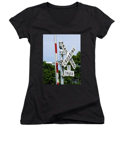 Railroad Crossing Women's V-Neck (Athletic Fit)