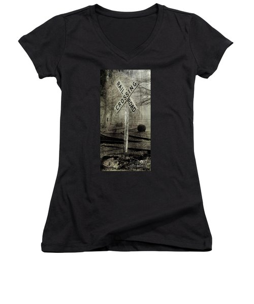 Railroad Crossing Women's V-Neck T-Shirt (Junior Cut) by Michael Eingle