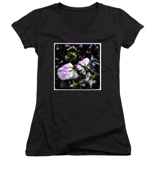 Women's V-Neck featuring the photograph Rain Kissed Petals. This Flower Art by Mr Photojimsf