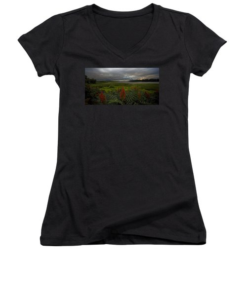 Rain Over The Mohawk Women's V-Neck (Athletic Fit)