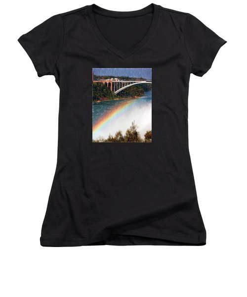 Rainbow Bridge - Niagara Falls Women's V-Neck T-Shirt (Junior Cut) by John Freidenberg