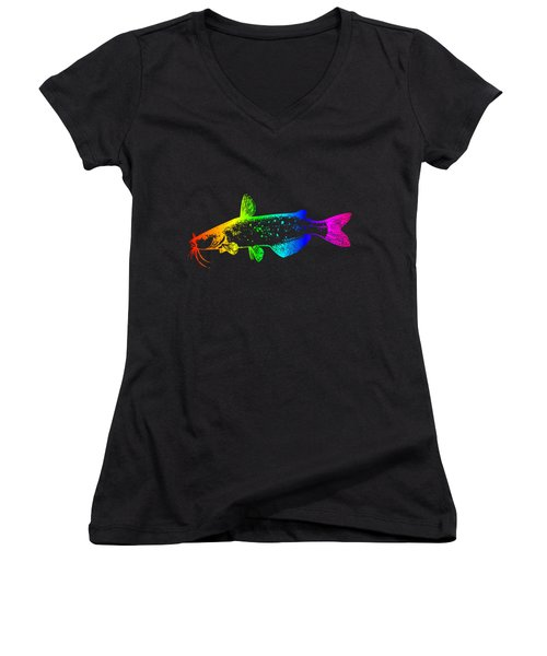 Rainbow Catfish #2 Women's V-Neck T-Shirt (Junior Cut) by Frederick Holiday