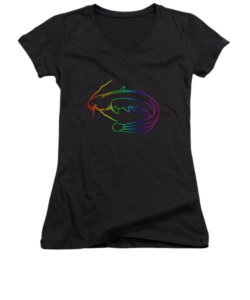 Rainbow Catfish Women's V-Neck T-Shirt (Junior Cut) by Frederick Holiday