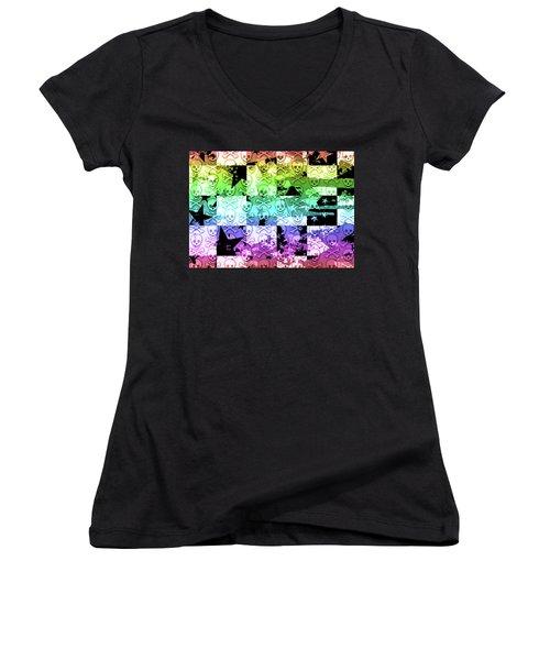 Rainbow Checker Skull Splatter Women's V-Neck T-Shirt