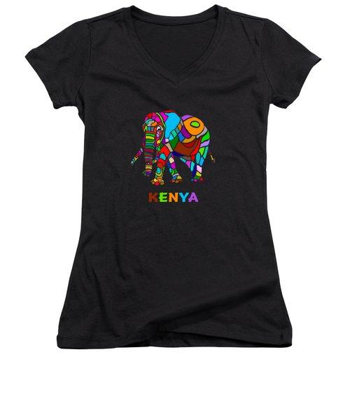 Women's V-Neck T-Shirt (Junior Cut) featuring the digital art Rainbow Elephant by Anthony Mwangi