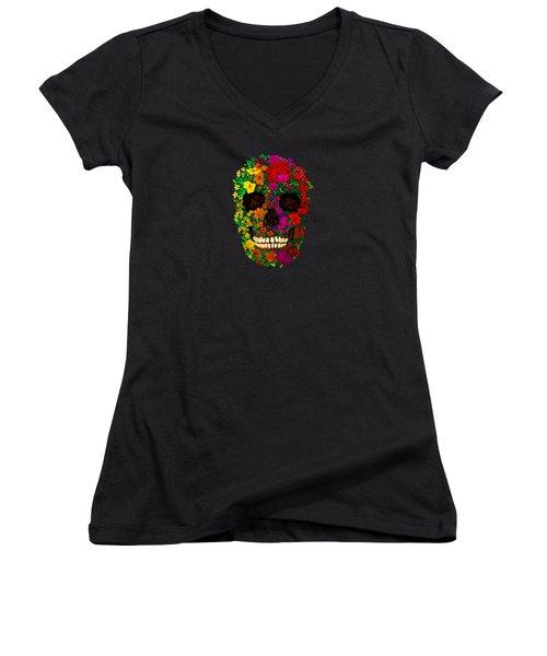 Rainbow Flowers Sugar Skull Women's V-Neck T-Shirt (Junior Cut) by Three Second