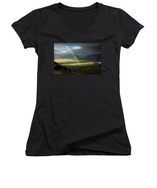 Women's V-Neck T-Shirt (Junior Cut) featuring the photograph Rainbow In The Valley by Andrew Matwijec