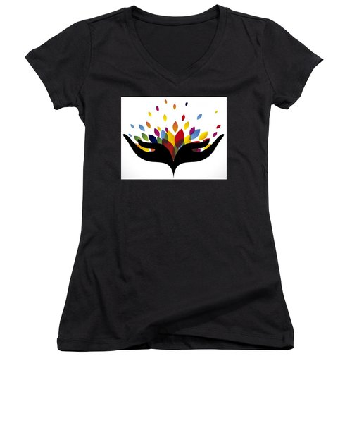 Rainbow Leaves Women's V-Neck T-Shirt