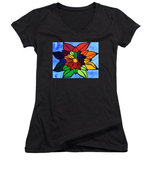 Rainbow Lotus Flower Women's V-Neck