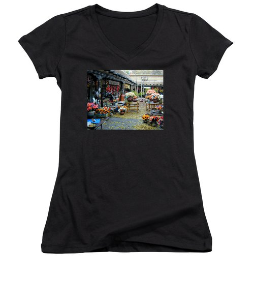 Women's V-Neck featuring the photograph Rainbow Man Courtyart by Joseph R Luciano