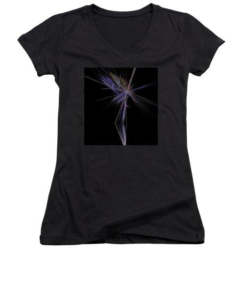 Women's V-Neck T-Shirt (Junior Cut) featuring the digital art Rainbow Palm by Sara  Raber