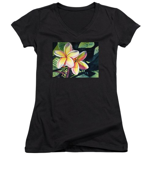 Rainbow Plumeria Women's V-Neck T-Shirt