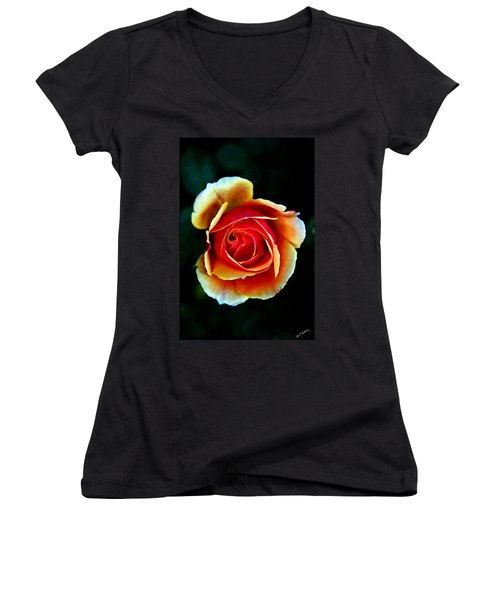 Women's V-Neck T-Shirt (Junior Cut) featuring the photograph Rainbow Rose by John Haldane