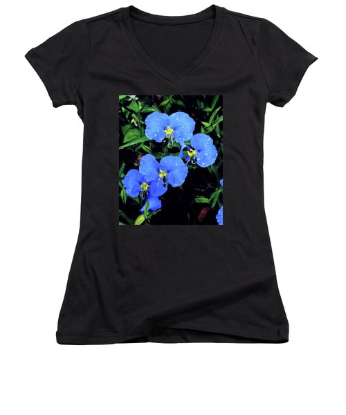 Raindrops In Blue Women's V-Neck (Athletic Fit)