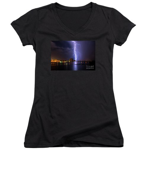 Raining Bolts Women's V-Neck (Athletic Fit)