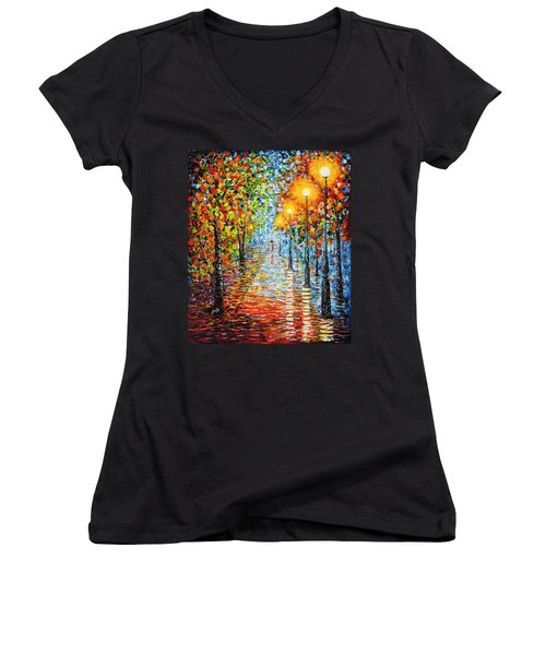 Women's V-Neck featuring the painting Rainy Autumn Evening In The Park Acrylic Palette Knife Painting by Georgeta Blanaru