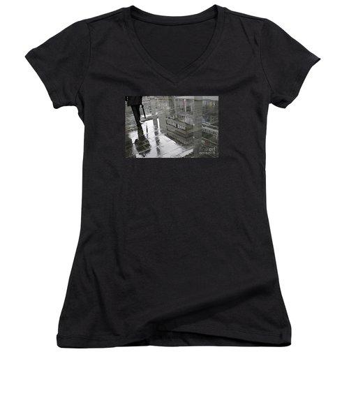 Rainy Morning In Mainz Women's V-Neck T-Shirt (Junior Cut) by Sarah Loft