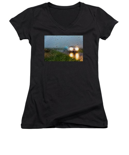 Rainy Ride Women's V-Neck T-Shirt