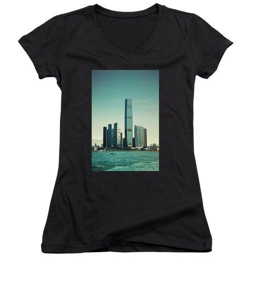 Ramparts Of Commerce Women's V-Neck T-Shirt (Junior Cut) by Joseph Westrupp