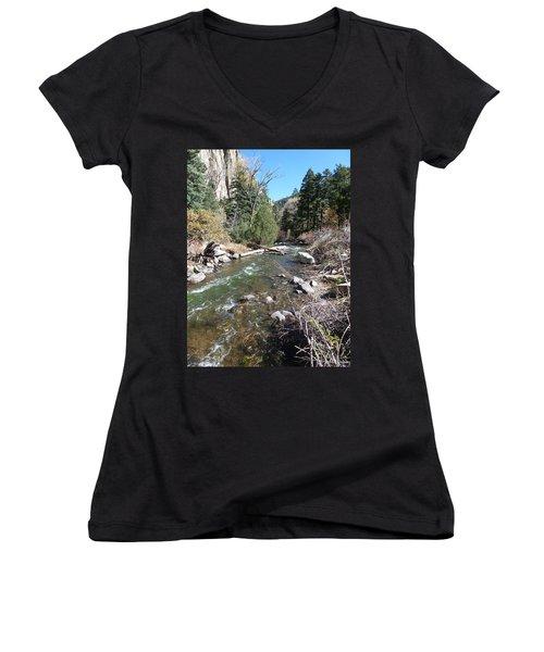 Women's V-Neck T-Shirt (Junior Cut) featuring the photograph Rapid Stream by Constance DRESCHER