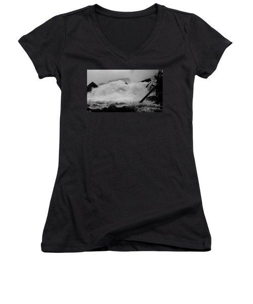 Women's V-Neck T-Shirt (Junior Cut) featuring the photograph Rapids  by Raymond Earley
