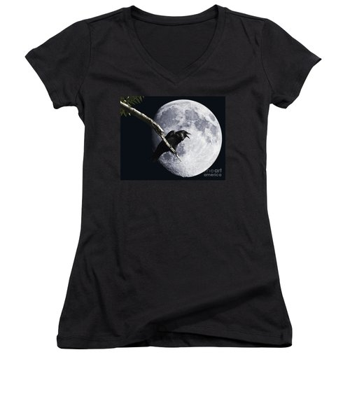 Raven Barking At The Moon Women's V-Neck
