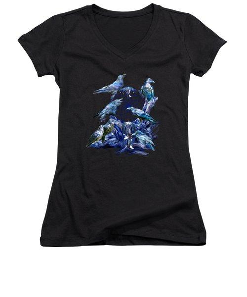 Raven Dreams Women's V-Neck T-Shirt (Junior Cut) by Carol Cavalaris