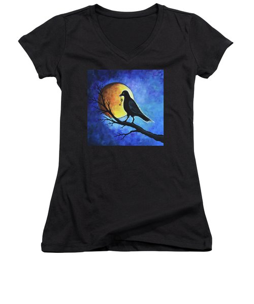 Raven With Key Women's V-Neck (Athletic Fit)