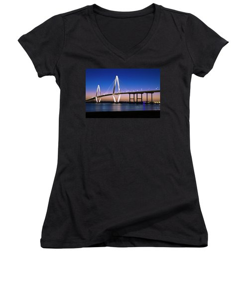 Ravenel Bridge 2 Women's V-Neck T-Shirt (Junior Cut) by Bill Barber