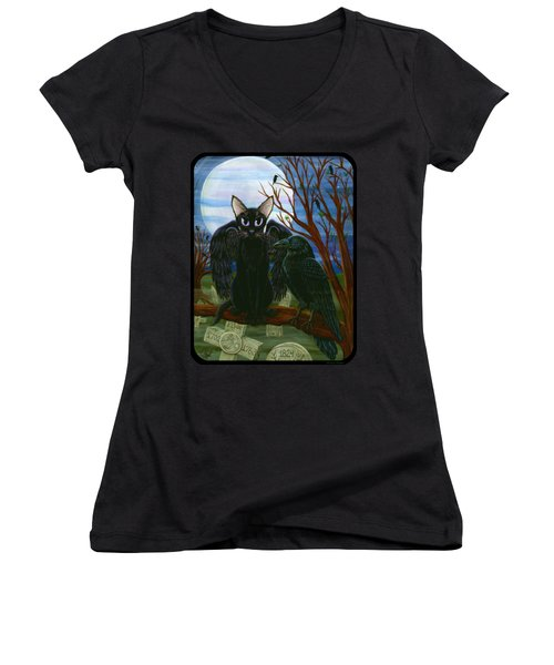 Raven's Moon Black Cat Crow Women's V-Neck T-Shirt (Junior Cut) by Carrie Hawks