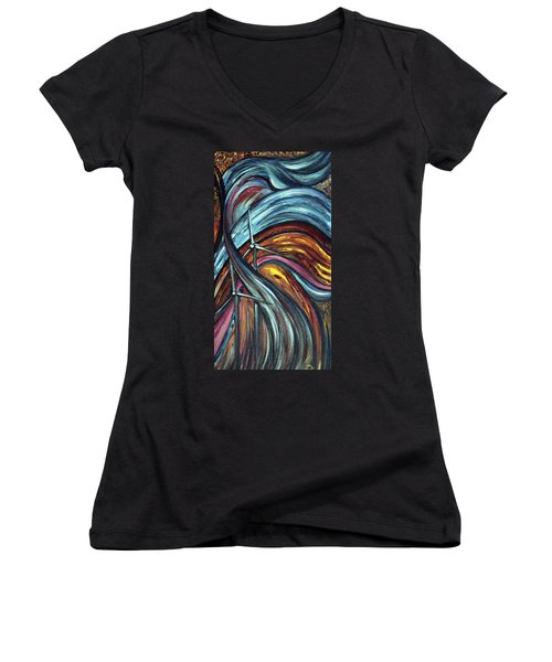 Women's V-Neck T-Shirt (Junior Cut) featuring the painting Ray Of Hope 2 by Harsh Malik
