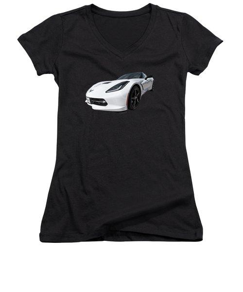 Ray Of Light - Corvette Stingray Women's V-Neck T-Shirt (Junior Cut) by Gill Billington