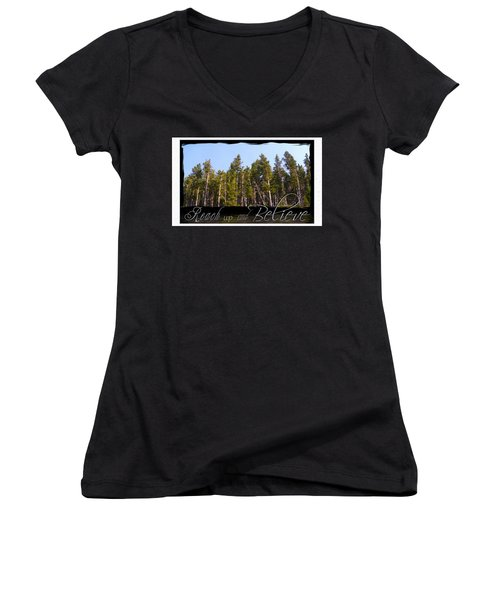 Women's V-Neck T-Shirt (Junior Cut) featuring the photograph Reach Up And Believe by Susan Kinney