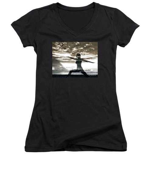 Reaching For Sunset Women's V-Neck (Athletic Fit)