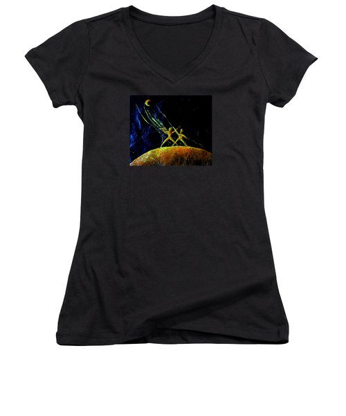 Reaching For The Moon Women's V-Neck (Athletic Fit)