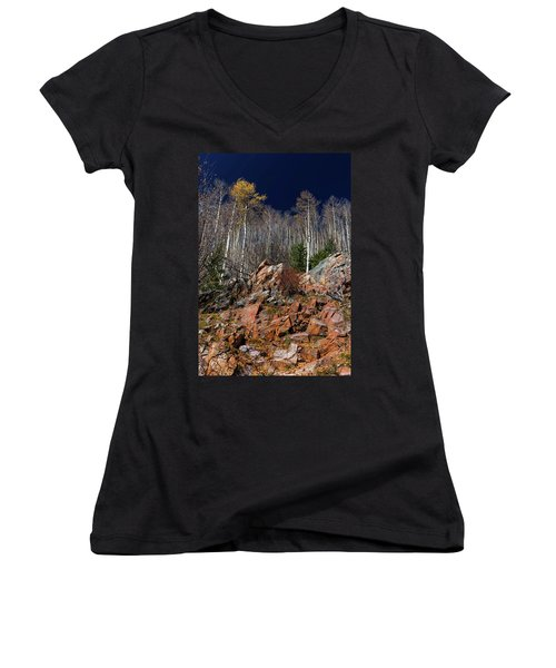 Women's V-Neck T-Shirt (Junior Cut) featuring the photograph Reaching Into Blue by Stephen Anderson
