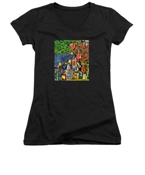 Read The Signs Women's V-Neck T-Shirt (Junior Cut) by Christy Ricafrente