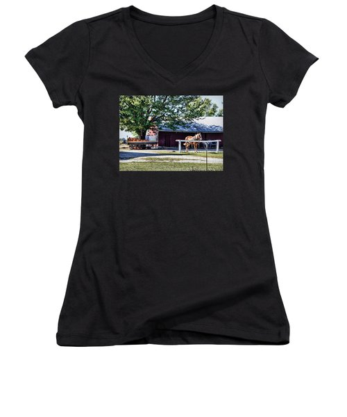 Women's V-Neck T-Shirt (Junior Cut) featuring the photograph Ready And Waiting by Cricket Hackmann