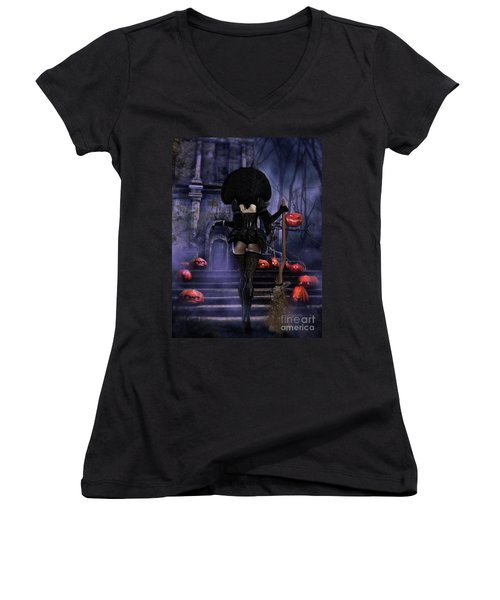 Ready Boys Halloween Witch Women's V-Neck T-Shirt (Junior Cut) by Shanina Conway