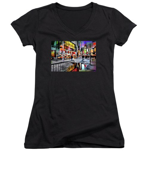 Women's V-Neck T-Shirt (Junior Cut) featuring the photograph Ready Or Not by Diana Angstadt