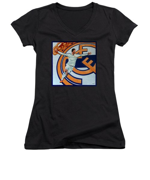 Real Madrid Painting Women's V-Neck T-Shirt (Junior Cut) by Paul Meijering