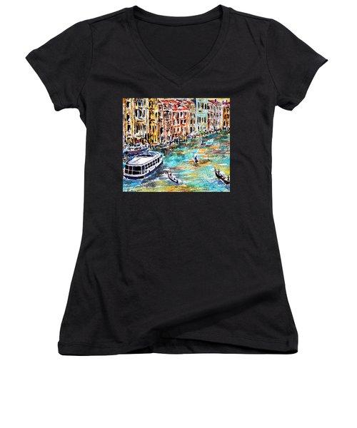 Recalling Venice 01 Women's V-Neck T-Shirt (Junior Cut) by Alfred Motzer