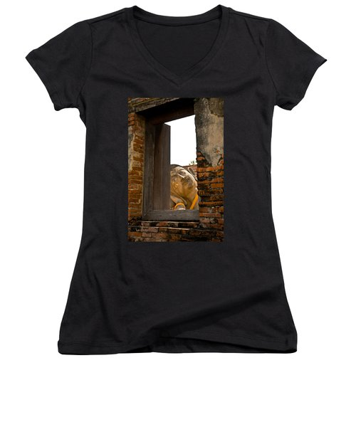 Reclining Buddha View Through A Window Women's V-Neck T-Shirt (Junior Cut) by Ulrich Schade