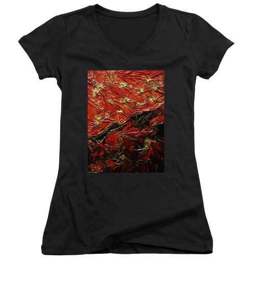 Red And Black Women's V-Neck (Athletic Fit)