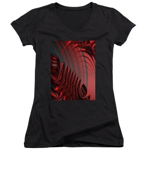 Red And Black Modern Fractal Design Women's V-Neck