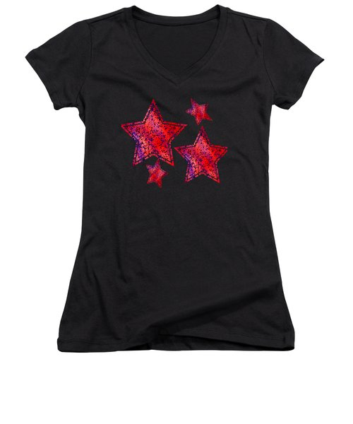 Red And Blue Splatter Abstract Women's V-Neck